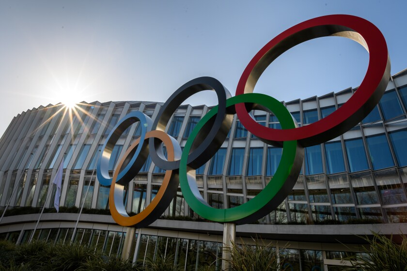 The Olympic rings outside the International Olympic Committee headquarters in Lausanne, Switzerland.