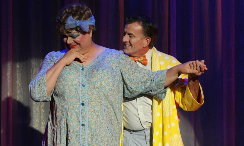 "Randall Hickman and Douglas Davis as Edna and Wilbur Turnblad in ""Hairspray"" at Welk Resorts Theatre in Escondido. CREDIT: Ken Jacques"