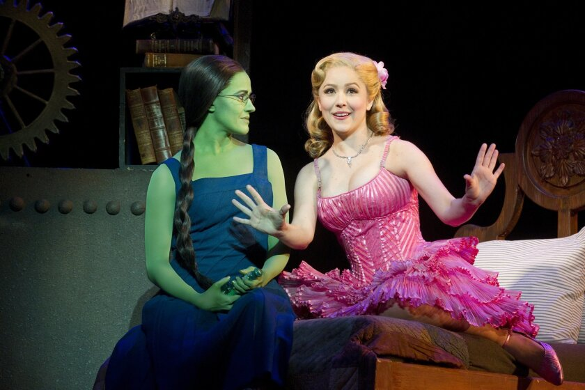 """Mamie Parris (as Elphaba) and Alli Mauzey (as Glinda) in the latest touring version of the hit musical """"Wicked."""""""