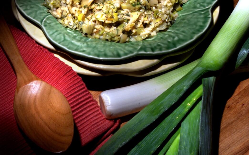 Leeks with rice