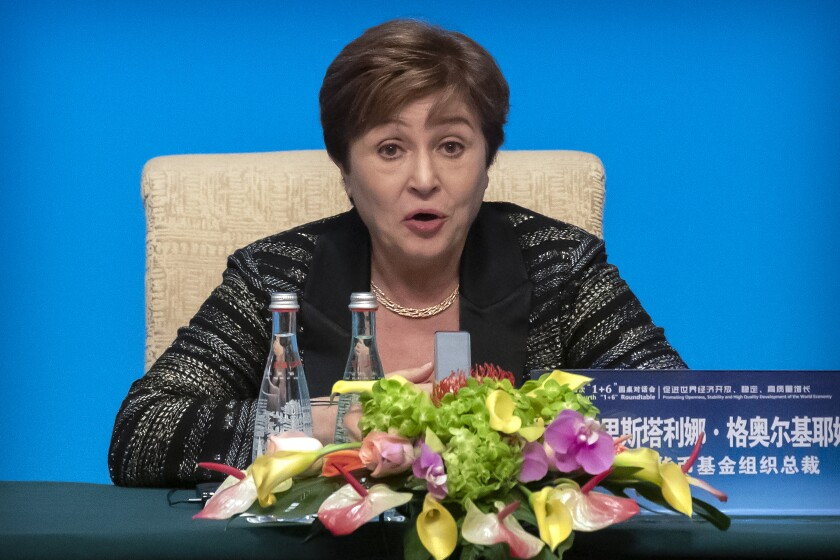 FILE - International Monetary Fund (IMF) Managing Director Kristalina Georgieva speaks during a news conference at the Diaoyutai State Guesthouse in Beijing, Thursday, Nov. 21, 2019. The embattled head of the International Monetary Fund, who successfully fought to keep her job following a data-manipulation scandal, is pledging renewed efforts to bolster data integrity while focusing on the main job of helping countries recover from a devastating global pandemic. Georgieva said Wednesday, Oct. 13, 2021 that she was glad the IMF's 24-member executive board had expressed confidence in her ability to head up the 190-nation IMF. (AP Photo/Mark Schiefelbein, file)