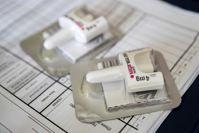 Narcan nasal devices deliver naloxone, a drug that can reverse the effects of an opioid overdose. Naloxone prescriptions are soaring, and experts say that could be a reason overdose deaths have stopped rising for the first time in nearly three decades.