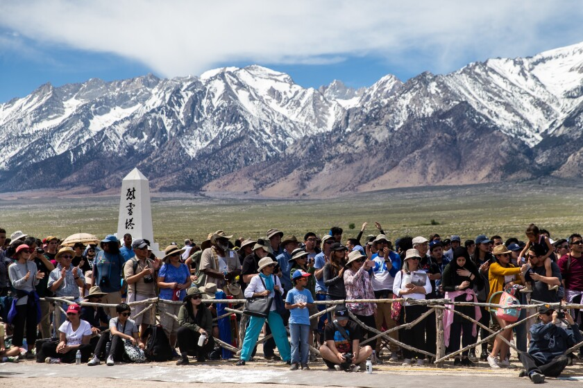 INDEPENDENCE, CALIF. - APRIL 27: People crowd the cemetery area during the annual Manzanar Pilgrimag