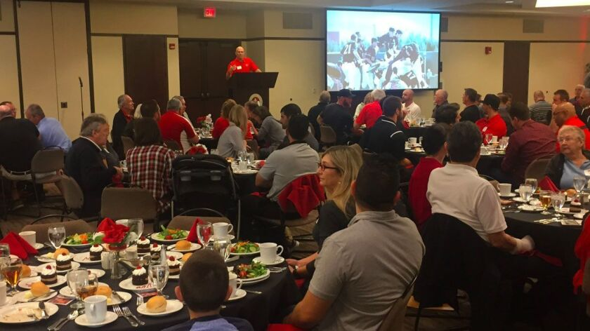 San Diego State head coach Mark Martinez discusses the 2017 baseball season to those gathered for SDSU's First Pitch Luncheon.