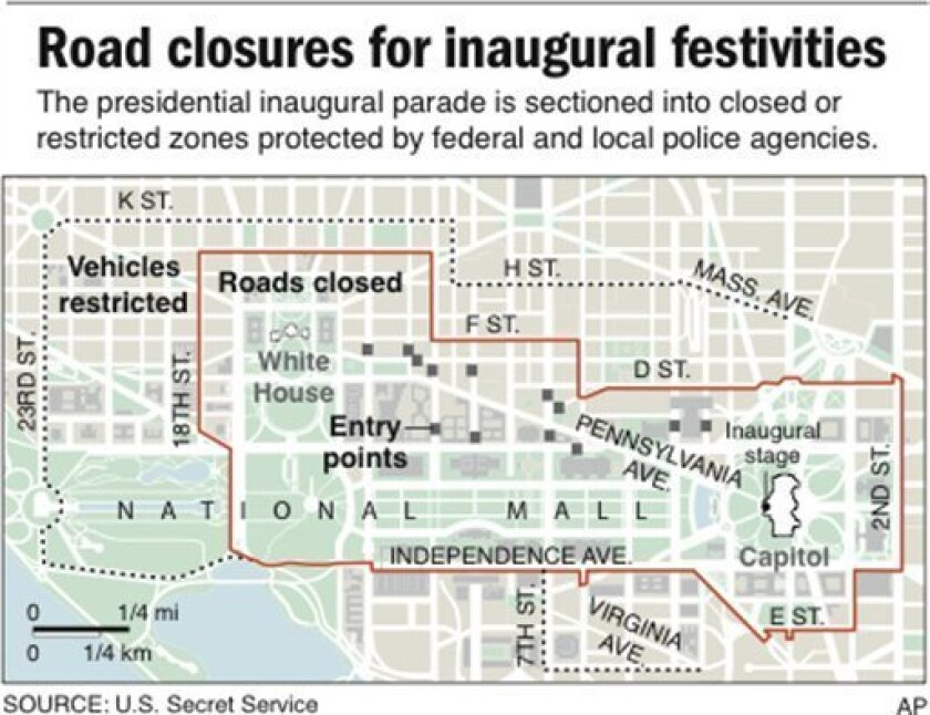 Map shows road closures for presidential inauguration; 2 c x 3 in; 96.3 mm x 76.2 mm