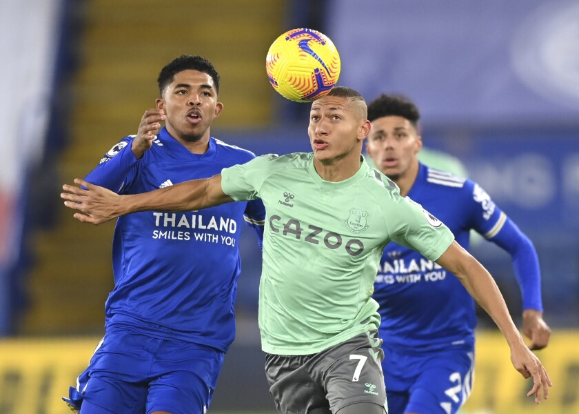 Leicester's Wesley Fofana, left, duels for the ball with Everton's Richarlison during the English Premier.