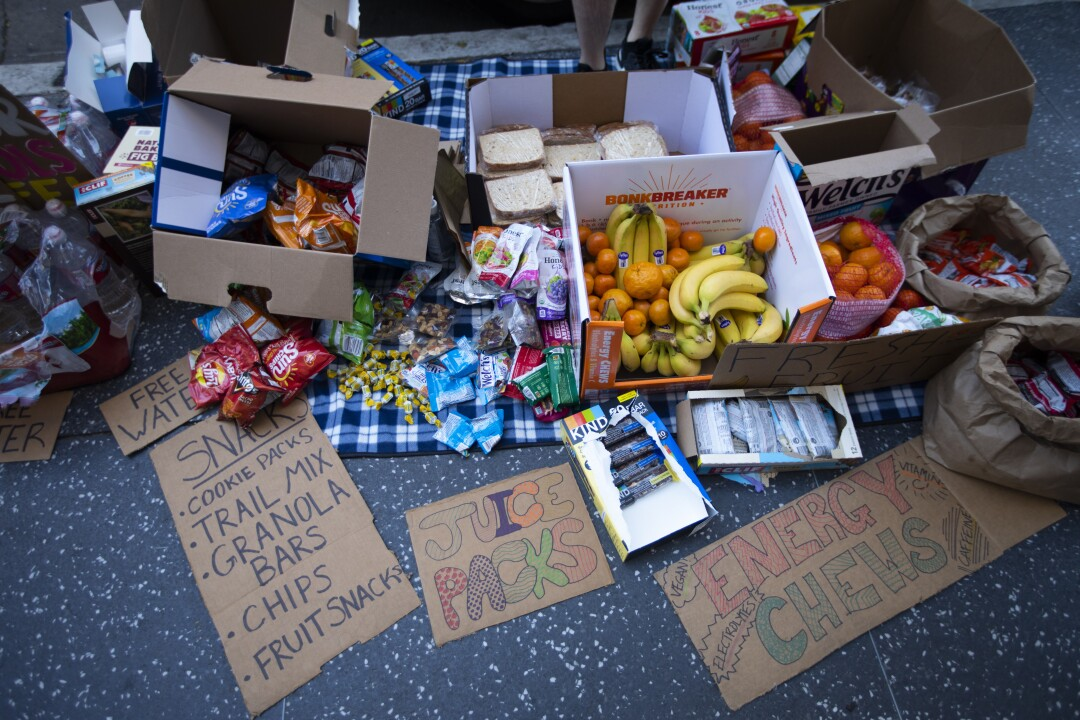 Snacks and water left for protesters in Hollywood on June 7.