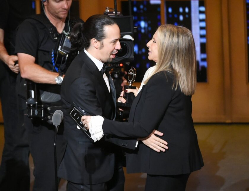 Barbra Streisand presents the best musical Tony to Lin-Manuel Miranda. Both Streisand and Miranda are one award away from joining the EGOT club.