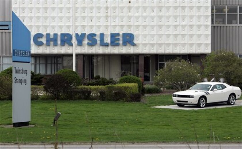 The main entrance to the Chrysler Stamping Plant is shown Thursday, April 30, 2009, in Twinsburg, Ohio. Documents in Chrysler's bankruptcy case reveal the automaker's plans to close five more of its plants by the end of 2010, including this plant. (AP Photo/Tony Dejak)