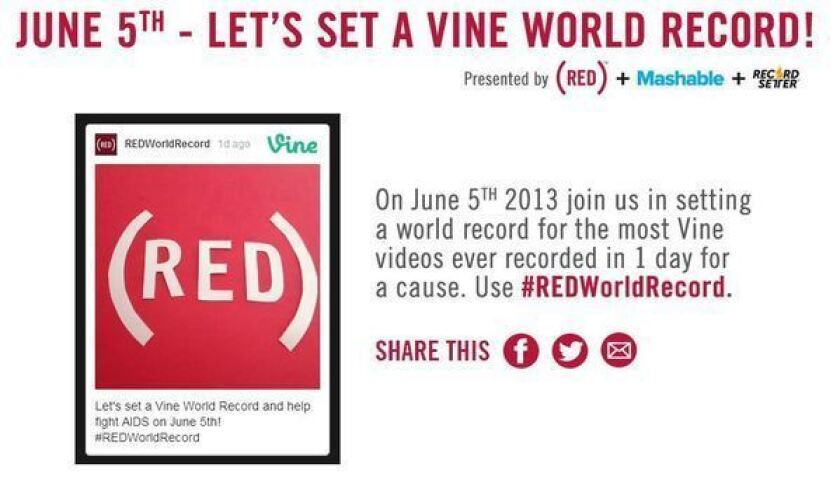 AIDS group (RED) aims to set record for most Vines in a day