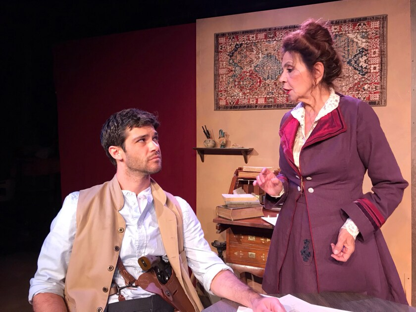 "Travis Laughlin and Jade Hykush in Vista Players' ""Constantinople"" at Secret Rose Theatre in North Hollywood."