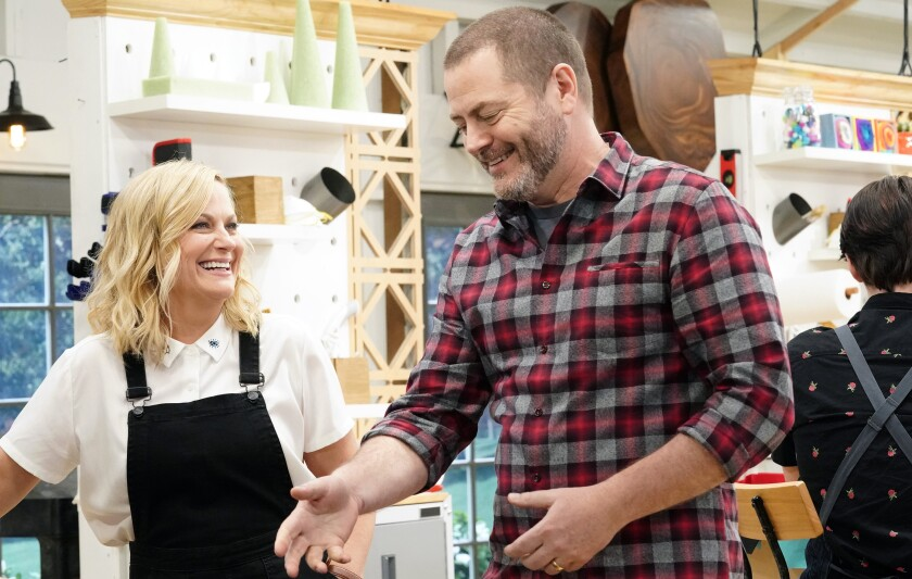 "Amy Poehler and Nick Offerman in ""Making It"" on NBC."