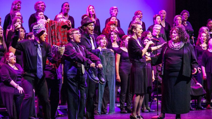 """The San Diego Women's Chorus, shown here at the 2015 """"Broadway, Our Way"""" concert that raised funds for the San Diego Human Dignity Foundation's Lesbian Health Initiative."""
