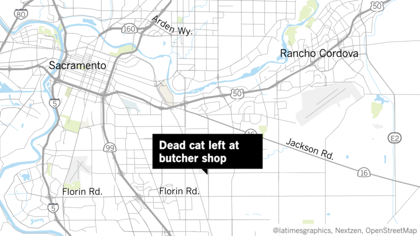 Map of Sacramento with a label that reads dead cat left at butcher shop