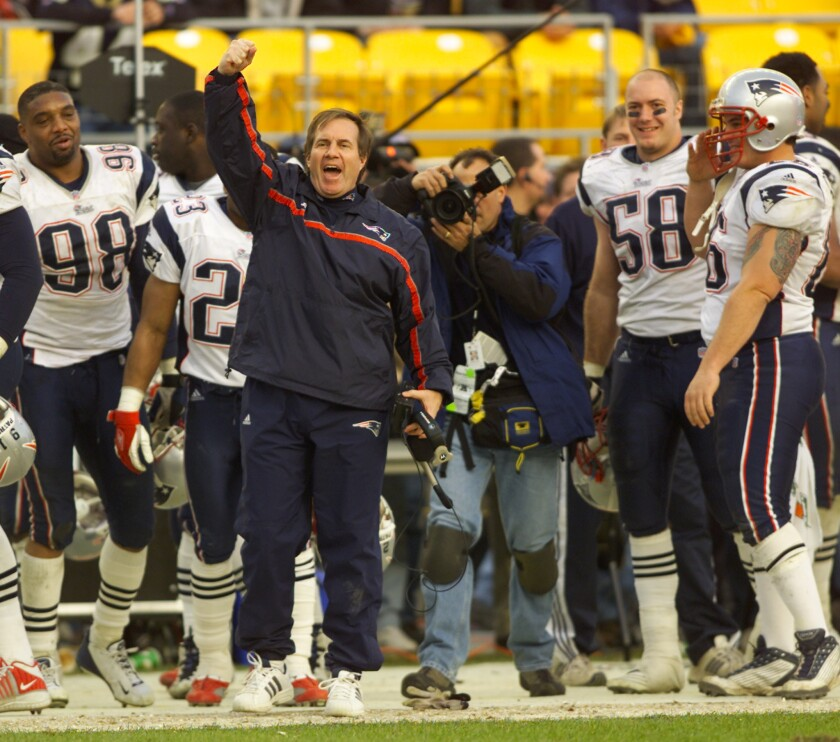 PATRIOTS COACH BELLICHICK CELEBRATES VICTORY OVER STEELERS IN PITTSBURGH