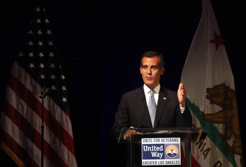 Mayor Eric Garcetti joined First Lady Michelle Obama and others at the Unite for Veterans Summit held in Century City last July.