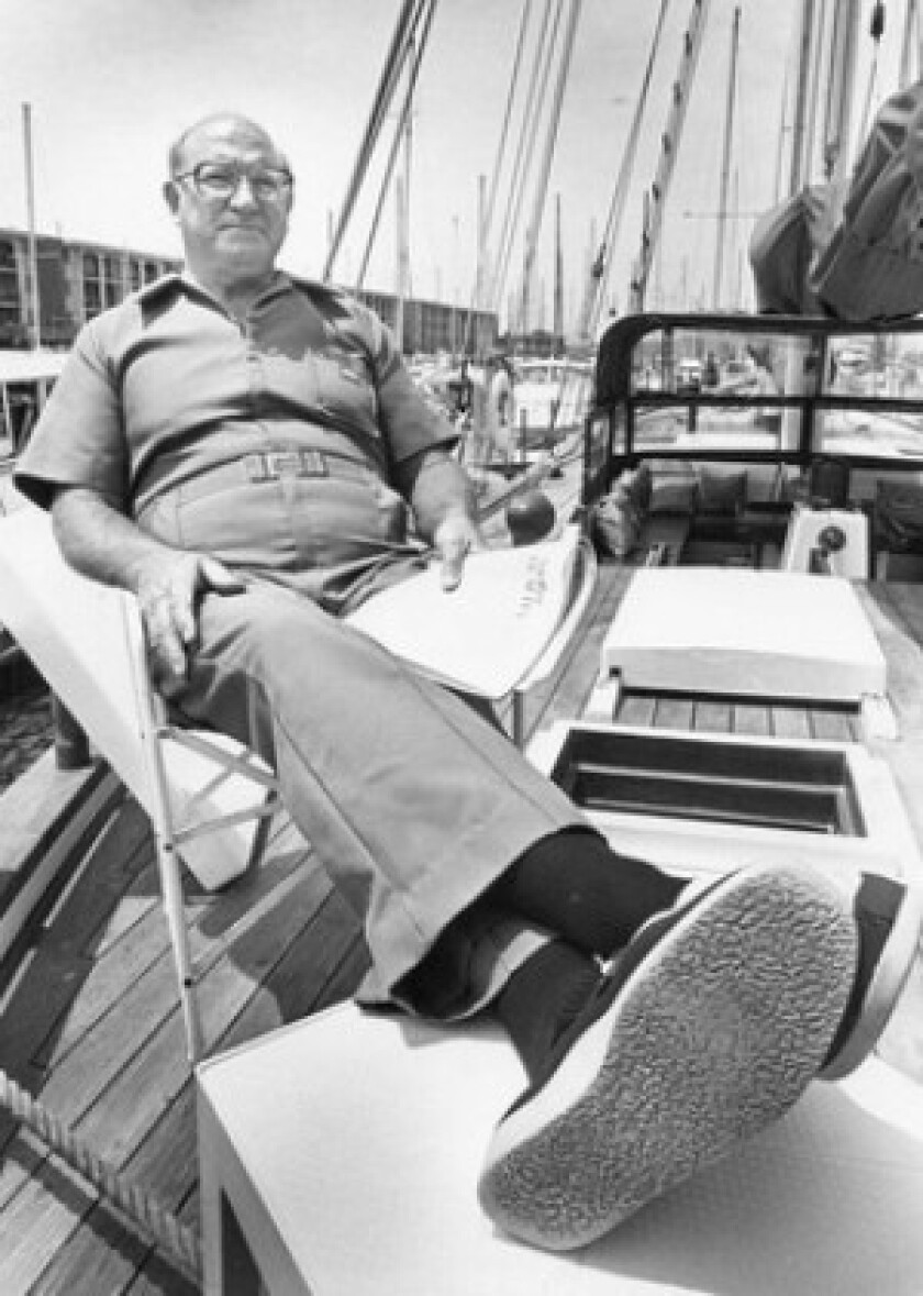 "Louis Nowell, on his yacht in 1980, was monitored by two community activists — a husband and wife named Jerry and Betty Decter who had spent years documenting what the couple called Nowell's ""indiscretions."""