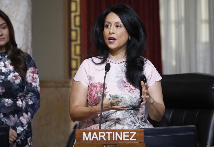 Los Angeles City Councilwoman Nury Martinez addresses the council in December