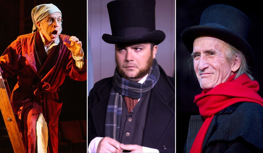 Robert Joy, left, Gus Krieger and Hal Landon Jr. are just a few of the Scrooges throughout Southern California this month.