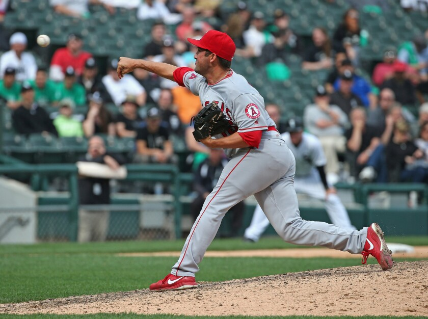 Angels closer Huston Street pitches in the ninth inning of a game against the White Sox in Chicago on April 21.