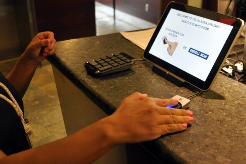 Alaska Airlines began testing fingerprint scanners to identify fliers at its airport lounges, including the Board Room at Los Angeles International Airport.