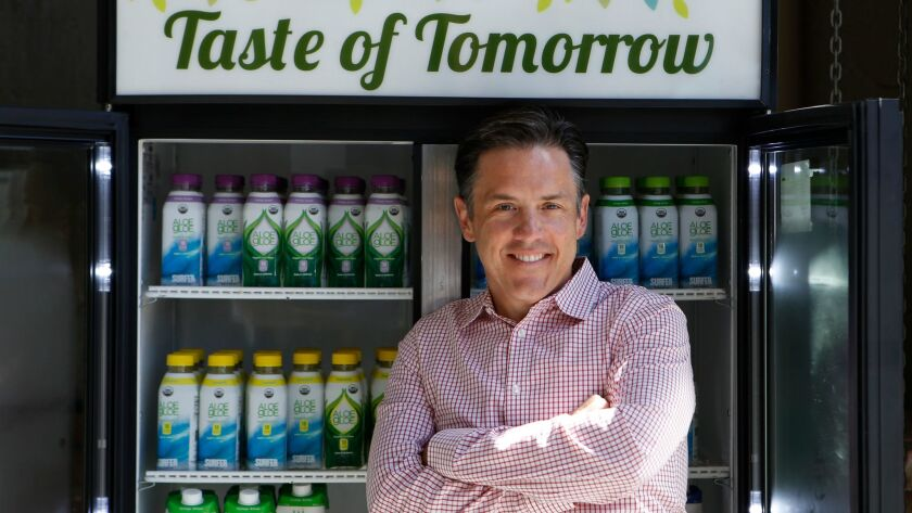 LOS ANGELES CA. JUNE 15, 2017: Dino Sarti, the founder and CEO of Aloe Gloe, a wellness drink compan