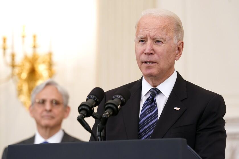 President Joe Biden speaks during an event to discuss gun crime prevention strategy.