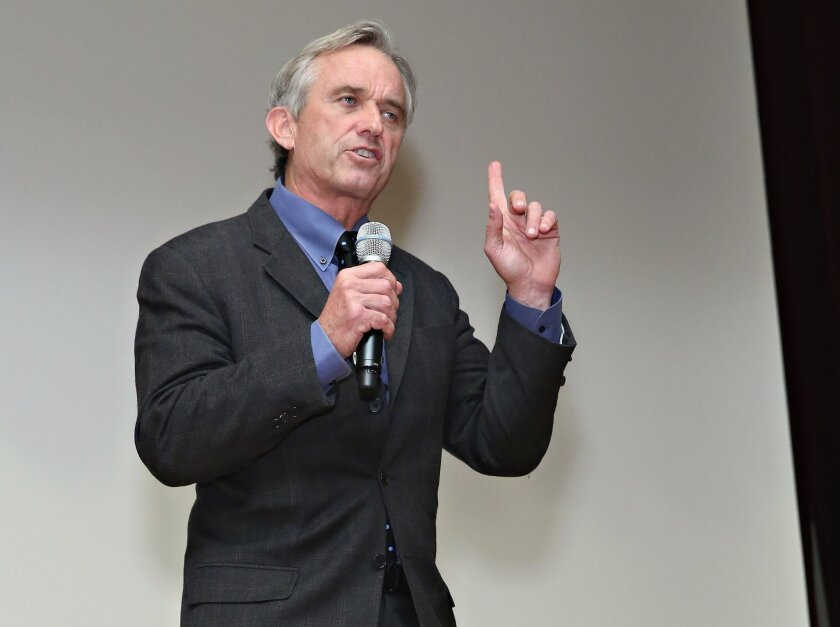 Activist/ author Robert F. Kennedy Jr. speaks on stage during the New York City screening of 'Trace Amounts' at New York University School of Law last month.