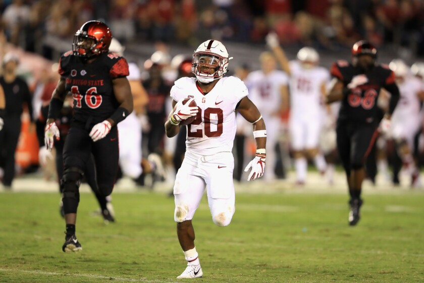 Bryce Love runs against San Diego State in 2017.
