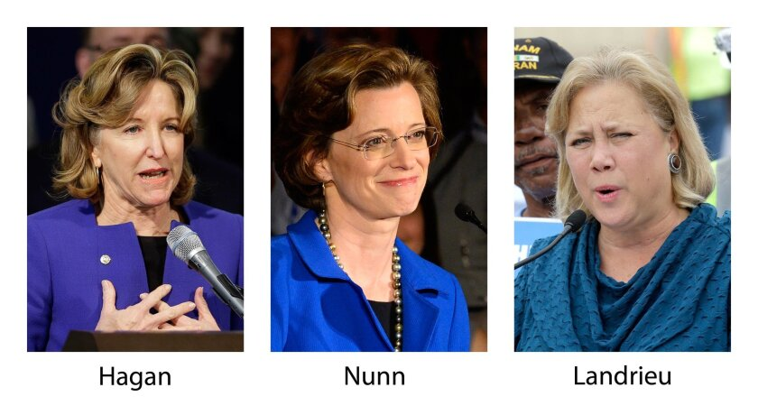 FILE -- In this three-picture combo of 2014 file photos, from left, Sen. Kay Hagan, D-N.C., Georgia Democratic Senate candidate Michelle Nunn and Sen. Mary Landrieu, D-La., Some black political leaders are bemoaning the decision of Democrats to keep their distance from President Barack Obama ahead