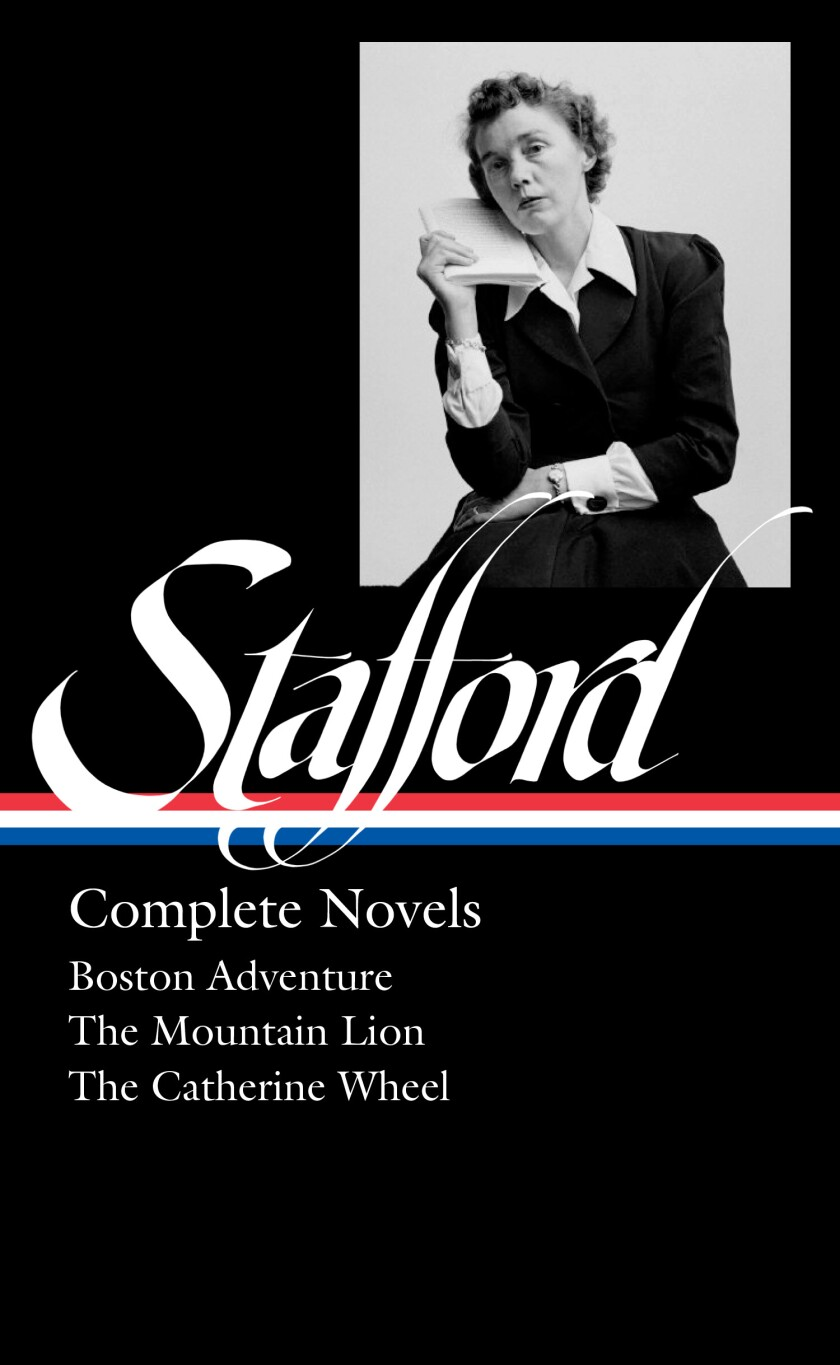 "Book cover with a photo of Jean Stafford and the text ""Stafford Complete Novels Boston Adventure The Mountain Lion The Catherine Wheel."""