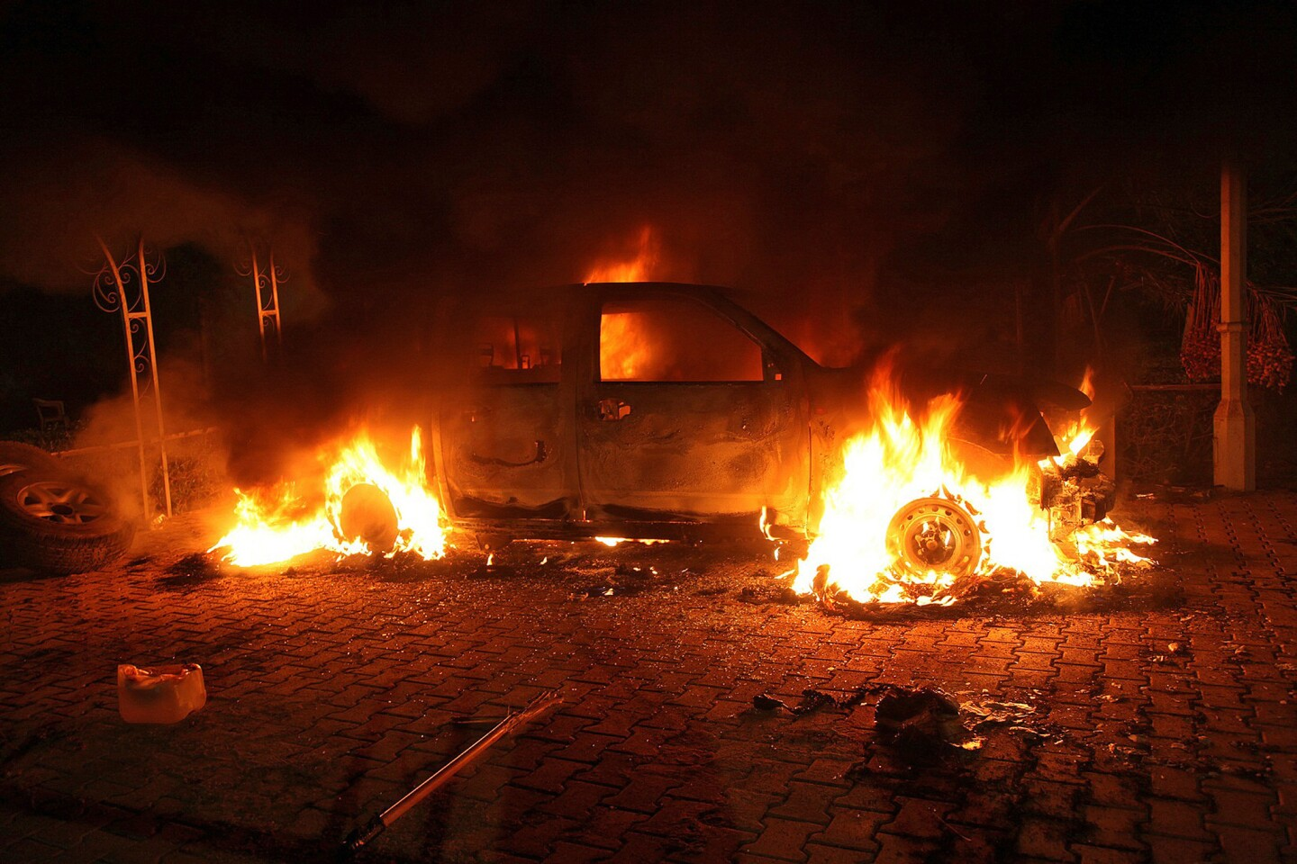 Armed assailants attacked the U.S. consulate in Benghazi, Libya, and set fire to the building.