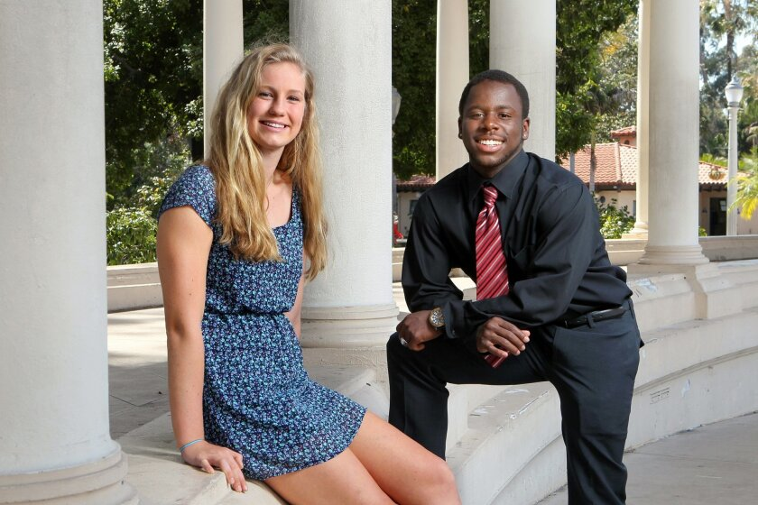Abby Bertics of the Bishop's School and Matthew Shearin of El Cajon Valley High are shown at the Organ Pavilion in Balboa Park.