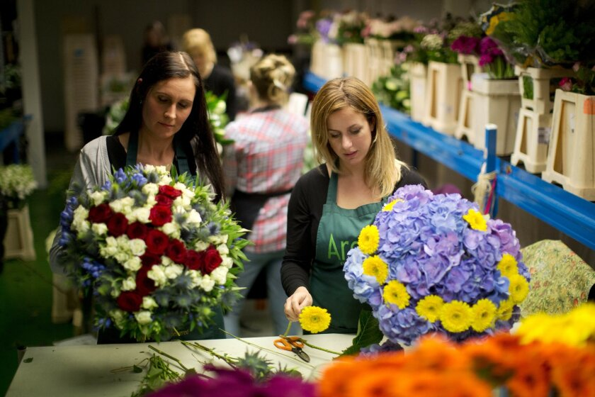 "Arenaflowers.com representatives Asta Foufas, left, and Lizzie Tree pose for photographs while making their ""Stay or Leaf"" EU referendum themed ""Brexit Bouquet"", left, and ""Stronger In Arrangement"" in west London, Thursday, June 2, 2016. British voters will decide in a June 23 referendum whether or"