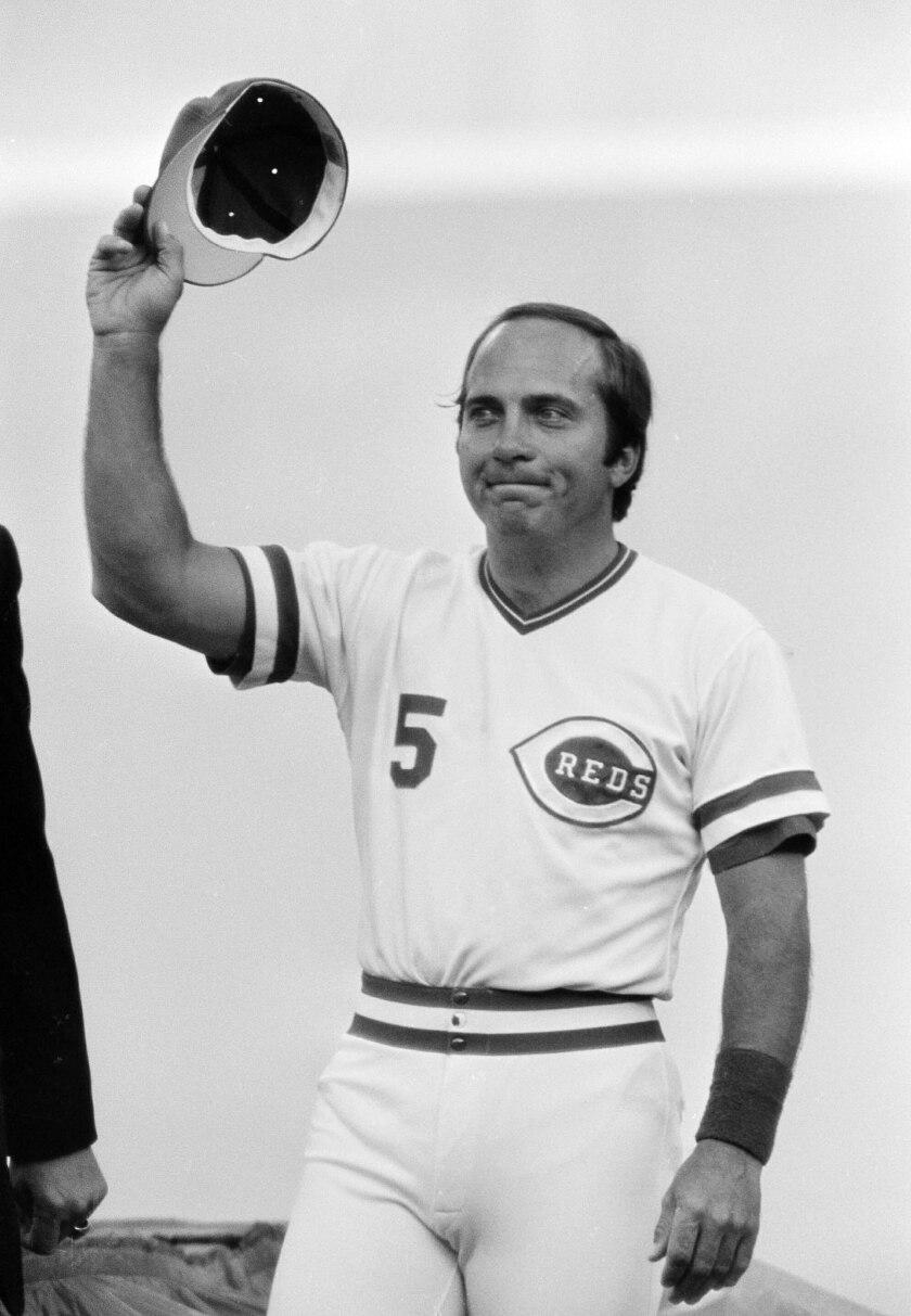 En esta foto de archivo de septiembre de 1983, Johnny Bench