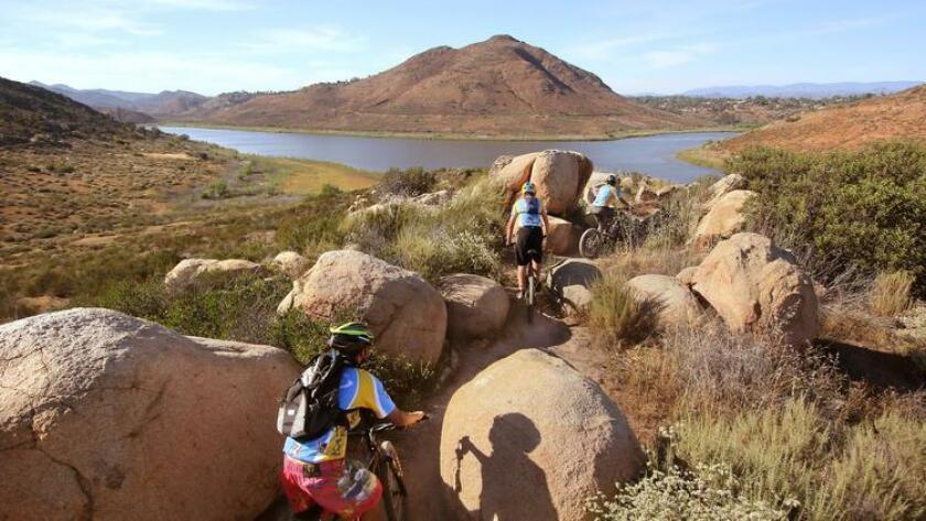 Mountain biking is a popular activity around Lake Hodges. (Charlie Neuman)