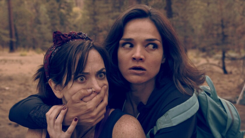 "Jamie Bernadette, left, and Vanessa Rose Parker in the movie ""4/20 Massacre."""