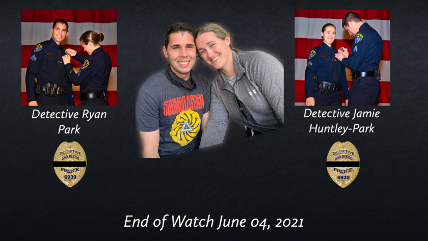 Detectives Ryan Park, 32, and Jamie Huntley-Park, 33, were killed June 4 in a head-on crash in San Ysidro.