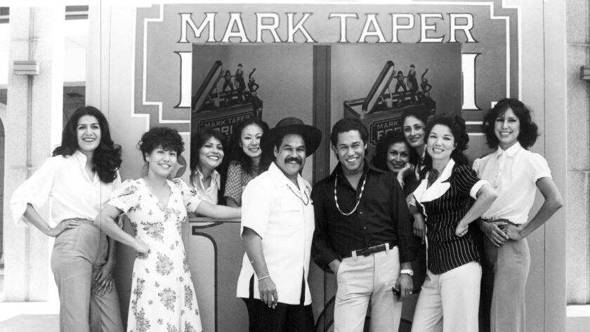 "Valdez with his ""Zoot Suit"" cast outside the Mark Taper Forum in 1978."