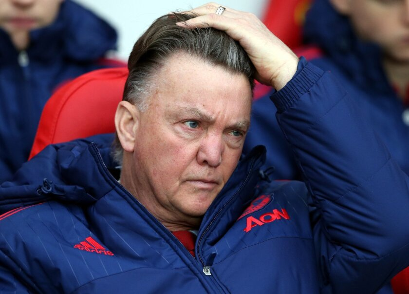 Manchester United's manager Louis Van Gaal awaits the start of the English Premier League soccer match between Sunderland and Manchester United at the Stadium of Light, Sunderland, England, Saturday, Feb. 13, 2016. (AP Photo/Scott Heppell)