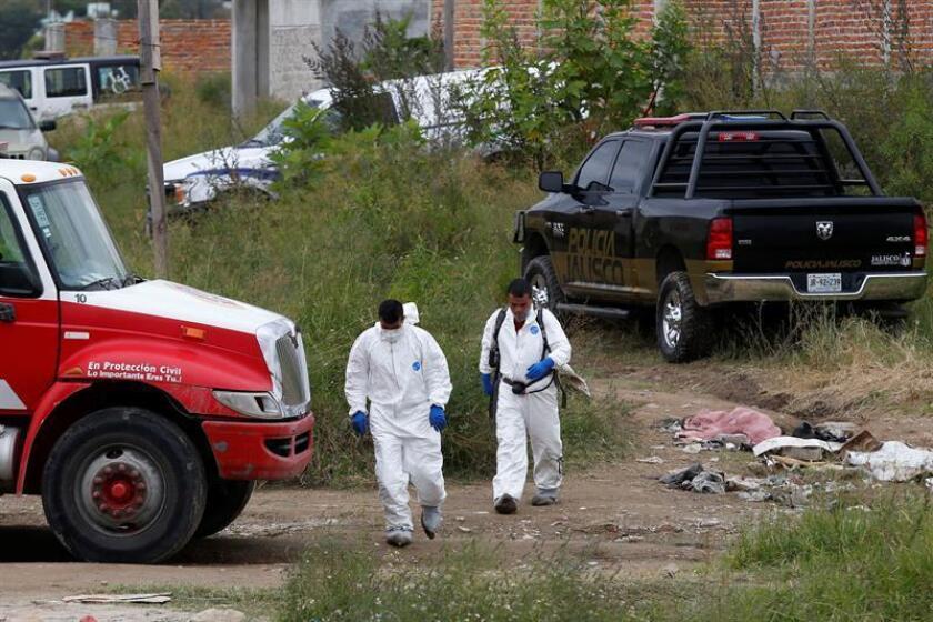 Peritos forenses trabajan en un predio hoy, lunes 15 de octubre de 2018, en la periferia del municipio de Tonalá, en el estado de Jalisco (México). Al menos 10 cuerpos, entre ellos el de una mujer, fueron localizados en dos fosas clandestinas descubiertas en Tonalá, en el occidental estado mexicano de Jalisco, informaron hoy fuentes de la fiscalía estatal. EFE