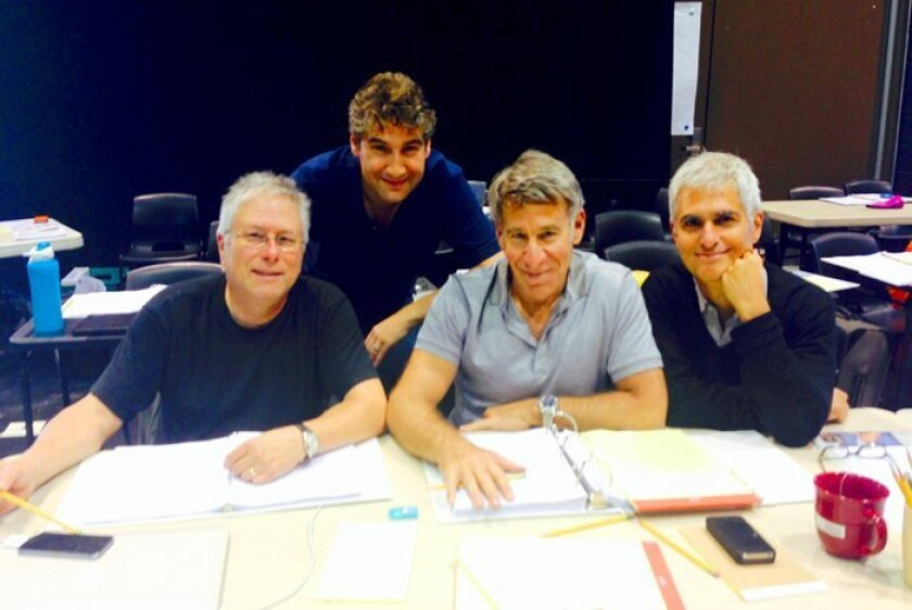 """Composer Alan Menken, director Scott Schwartz, lyricist Stephen Schwartz and librettist Peter Parnell collaborate on La Jolla Playhouse's production of """"The Hunchback of Notre Dame,"""" running in the Mandell Weiss Theatre on the UC San Diego campus, Oct. 26-Dec. 14, 2014."""