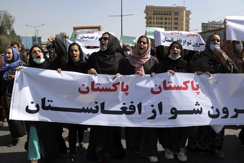 Afghans shouting slogans during an anti-Pakistan demonstration
