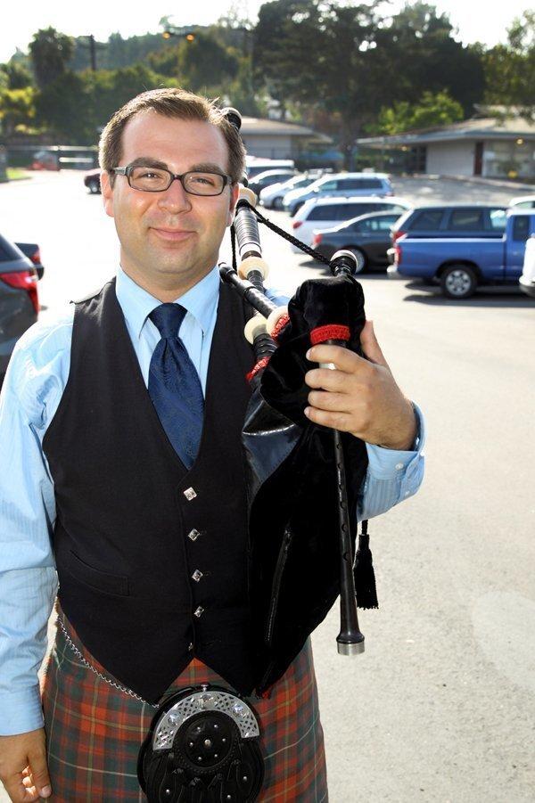 Darryl Calvillo with a bagpipe