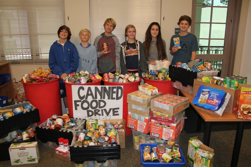 R. Roger Rowe School's student council led a schoolwide food drive for the holidays and brought in a big haul of donations for the San Diego Food Bank.