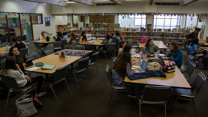 Students study in the library at Chadwick School on the Palos Verdes Peninsula.