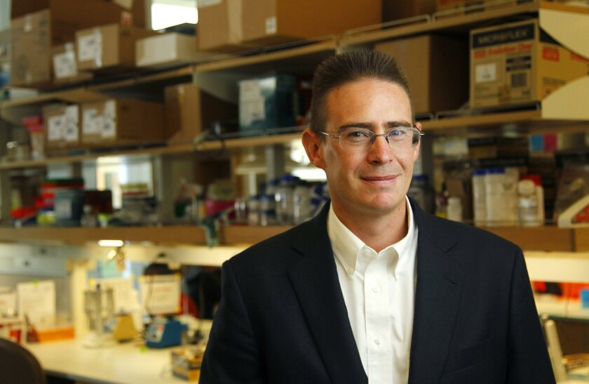 UCSD professor Rob Knight, a world leader in the study of the microbiome and co-founder of the American Gut Project, shown here in the Biomedical Research Facility II building at the university.