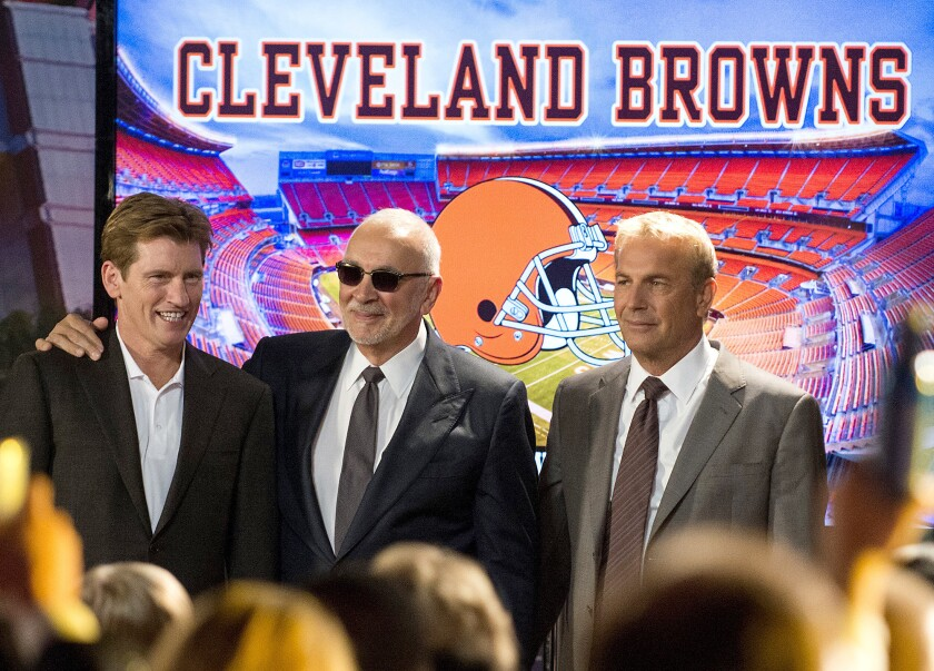 """Denis Leary, Frank Langella and Kevin Costner in the 2014 sports movie """"Draft Day."""""""