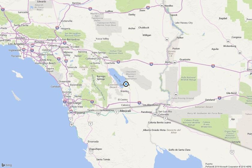 A map showing the location of the epicenter of Wednesday evening's quake.