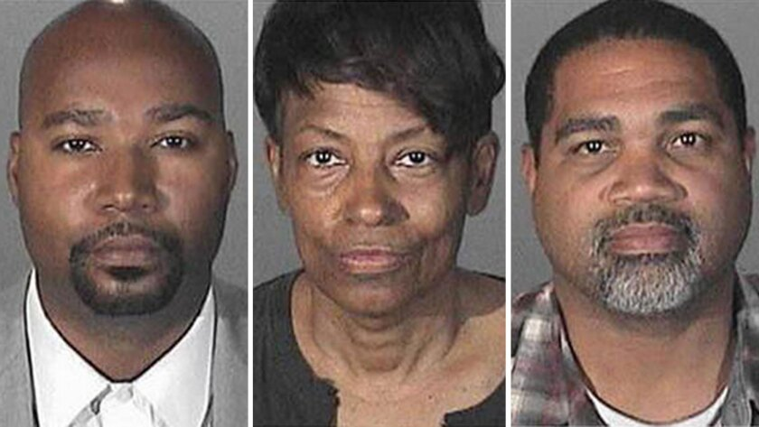 Brandon Kiel, left, Tonette Hayes and David Henry are accused of operating a fictitious police department. Kiel is a low-level aide to California Atty. Gen. Kamala Harris.